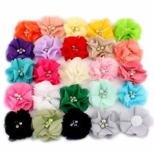 10pcs Chiffon Flowers Hairclips 2inch Rhinestone Pearl Hairpins Girls Hair Acces