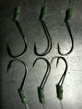 6 X STAINLESS READY MADE HOOKS 3 x 6/0 PLUS 3 x 5/0 READY ON 80LB DROPPERS LUMO