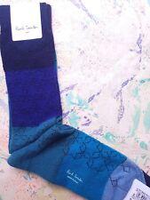 Paul Smith Mens Italian Socks Stella Stripe Wool Cashmere Mix Chunky Blue K611