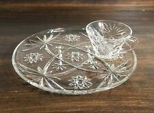 Clear Glass Round Serving Snack Tray w/ Tea Cup (Starburst Design)