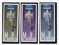 MALTA STAMPS 1967 SG 379 - 381 25TH ANNIV OF GEORGE CROSS AWARD MNH.FREE POST.