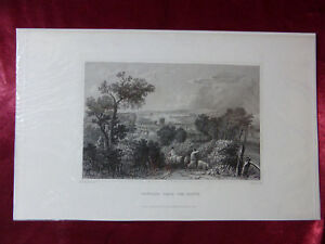 Antique engraving VIEW of NEWPORT FROM THE SOUTH, ISLE OF WIGHT c1830 Veduta