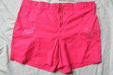New Women's Basic Editions Hot Pink Khaki Shorts Size 3X - Floral Embroidered