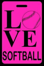 Hi-Viz Pink Love Softball Bag Tag - Free Personalization