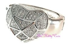 Stunning Textured Silver Heart Mosac Web Hinged Cuff Bangle w Swarovski Crystals