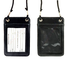 3 ID Card Holder Badge Passport Card NameTag Pouch Leather W/ Neck Strap NEW