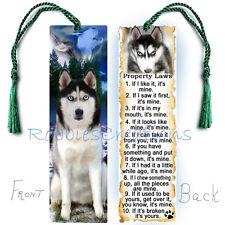SIBERIAN HUSKY Large BOOKMARK Tassel Dog RULES Property Law  Book Mark Art CARD