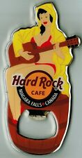 Hard Rock Cafe NIAGARA FALLS CANADA Girl with Raincoat Guitar Magnet Opener