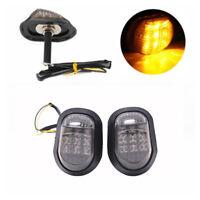 2x Motorcycle Flush Mount Turn Signal Indicators Blinker Amber 9 LED Light IO