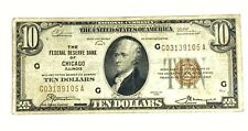 1929 Ten Dollars $10 National Currency BANK  Note Chicago Illinois