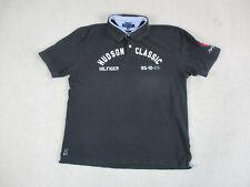 VINTAGE Tommy Hilfiger Polo Shirt Adult 2XL XXL Black White Hudson Classic 90s*
