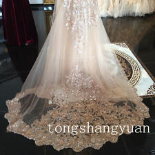 Champagne Bridal Veil Sequin Cathedral Wedding Veils Custom + Comb 2017 In Stock