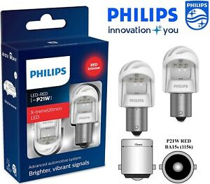 PHILIPS P21W LED RED X-tremeUltinon Gen2 Car Red stop Signalling Bulbs 12V 1156