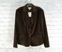 NWT TALBOTS Women's Blazer Button Brown Velvet Cotton Silk Jacket Size 14