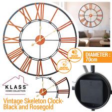 SKELETON GARDEN INDOOR WALL CLOCK ROMAN NUMERAL LARGE OPEN FACE METAL 70cm ROUND