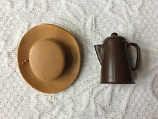 Vintage Marx Johnny and Jane West Accessories - Hat with Chin Strap & Coffee Pot