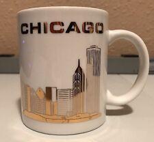 Gold on White Beautiful Chicago Skyline Coffee Mug Tea Cup  M2