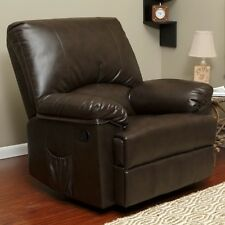 Brown Marbled Leather Rocker Recliner with Heat Massage Arm Chair Recliners NEW