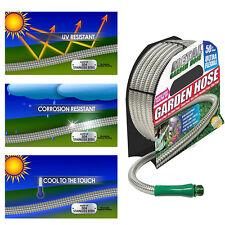 50 FT Metal Garden Water Hose Ultra Flexible Stainless Steel Light Weight Hoses