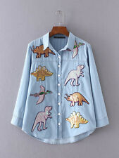 Womens Retro Sequined Dinosaur Patch Lapel Casual Denim Shirt Blouse Tops UK6-10