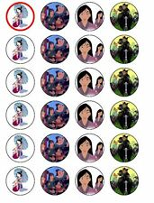 24 X PRE CUT MULAN RICE PAPER BIRTHDAY CUP CAKE TOPPERS