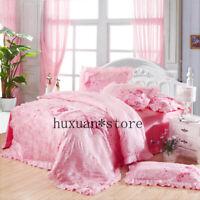 4pcs Silk Cotton Satin Jacquard Luxury Wedding Bedding Set Duvet Cover Sheet Hot