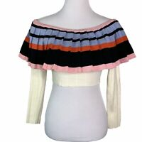 AKIRA Color Block Pleated Off The Shoulder Long Sleeve Cropped Sweater Womens M