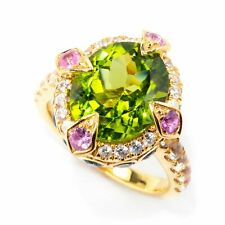 Meher's Jewelry Sterling Silver 5.90ctw Oval Peridot & Multi Gemstone Ring