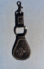 PATRICIA NASH KEY CHAIN FOB LEATHER NEW BLACK CLIP TO HANG ON PURSE FLOWER