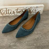 Frye Womens Sienna Ballet Flats Shoes Blue Suede Leather Studded Slip On 7.5