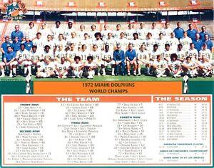 1972 MIAMI DOLPHINS 8X10 TEAM PHOTO PICTURE NFL FOOTBALL WITH SEASON SCORES