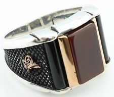 925 Sterling Silver Agate & Onyx Stone Men's Ring -US Seller-All Sizes 8-12 K6P