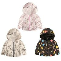 Toddler Kids Baby Grils Boys Long Sleeve Rainbow Stripe Hooded Coat Tops Outfits