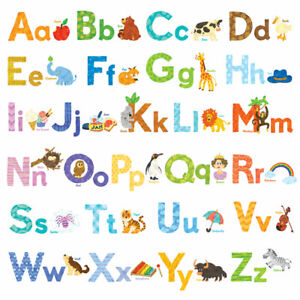 Decowall Animals Alphabet Nursery Kids Removable Wall Stickers Decal DW-1608S
