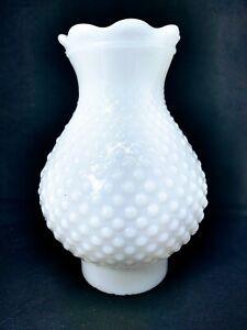 "Opaque White Hobnail Milk Glass Oil Lamp Shade Globe Chimney 3"" inch fitter"