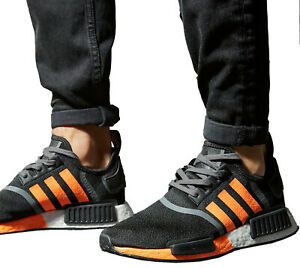 New adidas Originals NMD R1 Mens sneaker casual shoes black orange all sizes