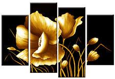 Grande Golden Floreale Fiore Tela Su Nero WALL ART PICTURE split multi 100 cm