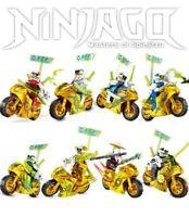 Ninjago Season 12 Motorcycles 8 Custom Golden Minifigures Set - USA SELLER