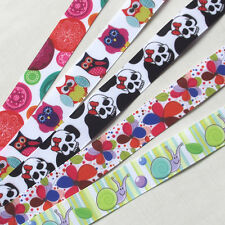 5Y Mix Color Grosgrain Ribbon Snail/Skull/Owl DIY Craft Sewing Width 22mm