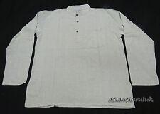 k627L Algodón Abuelo Manga Larga Blanco Roto Liso Moda Verano Hombre Camisa