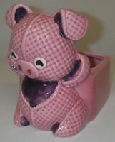 Vintage Lefton Japan H6170 PLANTER Vase Ceramic Pink Gingham Pig Nursery Decor
