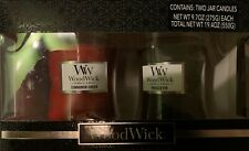 NEW! 2 Pack WoodWick Candles 9.7 oz, Frasier Fir, Cinnamon Cheer.