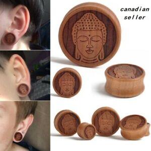 Pair wood buddha head ear plugs tunnels flesh expansions piercing  body jewelry