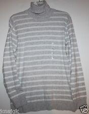Gap NWT Women's Gray Striped Flat Knit Fine Cotton Turtleneck Sweater Tunic