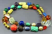 COLORFUL BEADED NECKLACE Art Glass Beads MOLDED FACETED SWIRL Rainbow Colors VTG