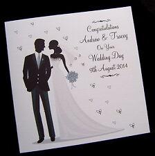 "Large 8"" x 8"" Luxury Personalised Handmade Wedding Day Congratulations Card"