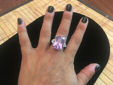 Big Chunky Lavender Purple Crystal & White CZ Silver Plated Cocktail Ring - 8