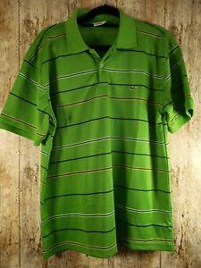 Lacoste mens green striped polo shirts size XL
