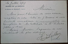 Henri LEBLANC (1873-1935), MUSEE de la GRANDE GUERRE, P.A.S., Carte-Lettre 1917