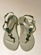 OKA B Womens flip flops SANDAL shoe SZ 8 US, ankle strap, siver light gray